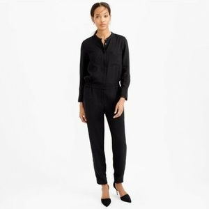J. Crew Drapey Oxford Crepe Navy Blue Jumpsuit